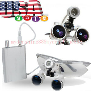 Aaaaa Magnification 3 5 Dental Surgical Binocular Loupes Glasses Led Head Light