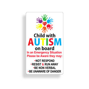 Autistic Sticker Child On Board Autism Awareness Window Bumper Car Safety Decal