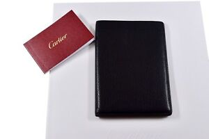 Authentic Cartier Black Calfskin Leather Credit Card Passport Holder Wallet