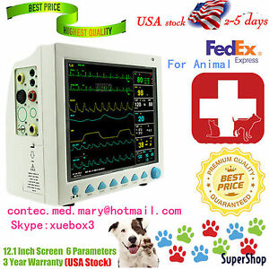 Fda Ce Vet Veterinary Patient Monitor 6 Parameter Icu ecg nibp pr spo2 temp resp
