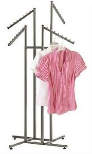 Clothing Rack Four 4 Way Adjustable Clothes Garment Retail Display Steel Finish