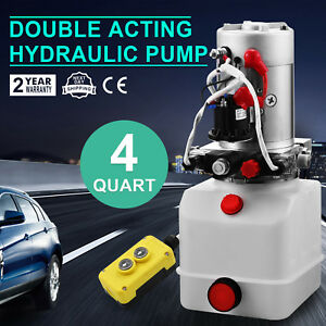4 Quart Double Acting Hydraulic Pump Dump Trailer Remote Lifting Unloading