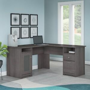 L shaped Executive Computer Desk Home Work Station Furniture Heather Gray