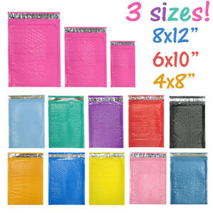 Assorted Sizes 8 5x12 6x9 4x8 Colored Poly Bubble Mailers Padded Envelopes