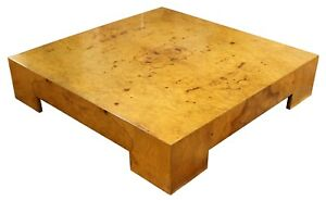 Mid Century Modern Milo Baughman Parsons Burl Wood Square Low Coffee Table 1970s