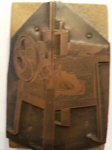 Antique Finely Detailed Copper Print Block Ad For early Washing Machine