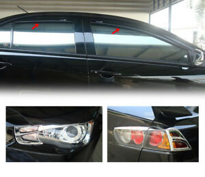 Fits For Mitsubishi Lancer Ex 2010 2014 Weahter Guard head Tail Lamp Cover Trim