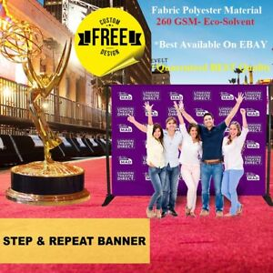 10x8 Custom Step Repeat Banner Backdrop Printing Full Color Fabric 8x10 No Stand
