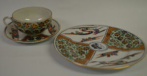 Japanese Porcelain Imari Ware Acf Cup Saucer And Lunch Plate