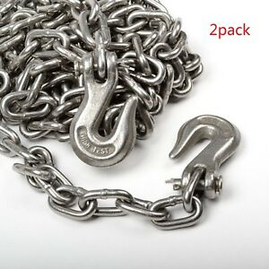2pack 5 16 X 20ft Tow Chain Tie Down Binder Chain Flatbed Truck Trailer Safety