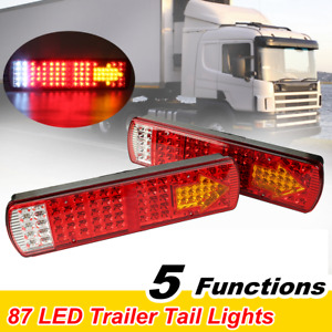 Pair 87 Led Rear Tail Light Brake Stop Reverse Fog Indicator Truck Trailer Lamp