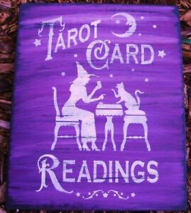 Primitive Witch Sign Tarot Card Readings Cats Stars Wood Signs Halloween Props