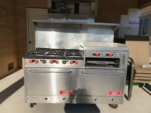Franklin Chef 48 Commerical 6 Burner Gas Stove Oven With Griddle