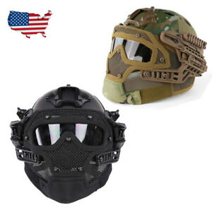 Tactical Airsoft Paintball SWAT Helmet wGoogles Mask Protective USA