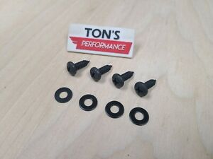4 Standard Black License Plate Replacement Stainless Screws Washer No Rust Car