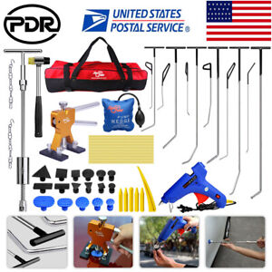 Paintless Dent Repair Puller Lifter Pdr Tools Push Rods T bar Hail Removal Kits