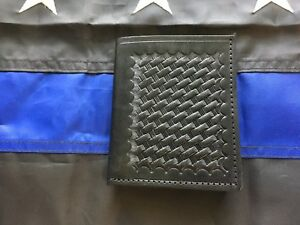 Tex Shoemaker Basketweave Police Id Money Wallet Badge Holder Half Shield