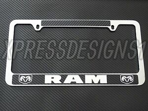 Dodge Ram Chrome License Plate Frame Carbon Fiber Details Chrome Text Set Of 2