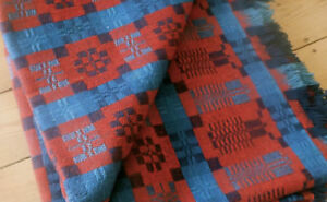 Antique 19thc Loom Woven Coverlet Blanket Americana Indigo Soldier Blue Red