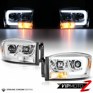 Oled Tube 06 08 Dodge Ram 1500 Chrome Led Light Bar Projector Headlights Pair