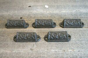 5 Cast Iron Brown 3 Ornate Pulls Drawer Cabinet Bin Handles Rustic Vintage Cup