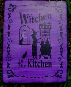 Primitive Witch Sign Witchen In The Kitchen Witches Cats Signs Halloween Folk