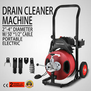 50ft 1 2 Drain Auger Pipe Cleaner Machine Rigid 1750rpm Electric Newest