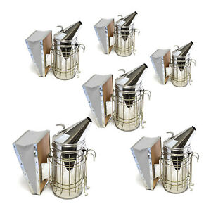 Set Of 6 Stainless Bee Hive Smoker Steel With Heat Shield Beekeeping Equipment
