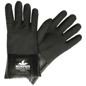 1 Dozen Memphis Premium Double Dipped Pvc Coated Work Gloves Large