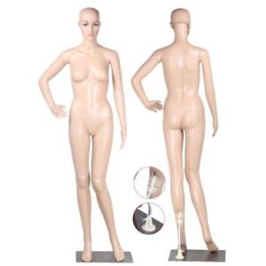Full Body Female Mannequin W Base Plastic Realistic Display Head Turns Dress