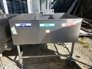 Heavy Gauge Stainless Steel 3 Compartment Mobile Sink 12 X 32 X 16 Per Comp