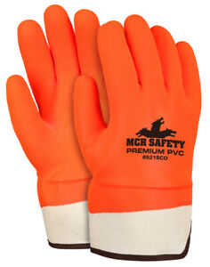 12 Pairs Mcr Safety Industry Standard Pvc Coated Work Gloves Large