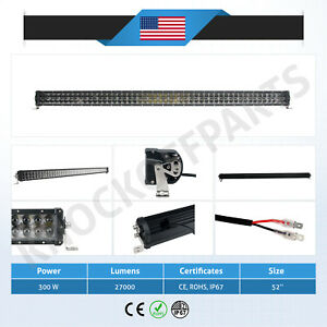 For Chevy Suv Pickup 52 300w Cree 100 led Proj Flood Light Roof Grille Bull Bar