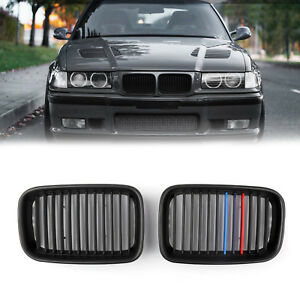 1pair Matte Black Front Hood Grille Kidney For Bmw E36 3 Series M3 1992 1996 Usa