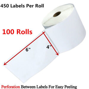 100 Rolls 450 roll Direct Thermal Shipping Label 4x6 Zebra Eltron 2844 Usps Ups