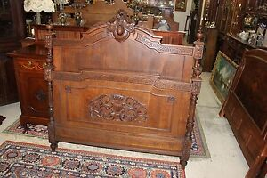 French Antique Louis Xvi Full Size Oak Wood Double Bed Headboard Footboard Rails