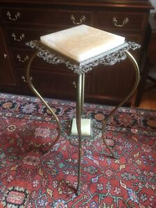 Victorian Alabaster Or Onyx Metal Plant Fern Stand Circa Early 1900 S 2