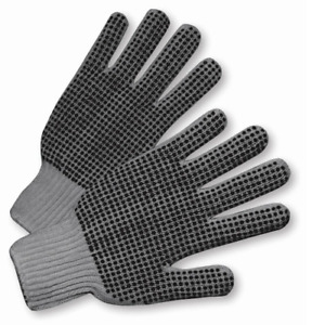 25 Dozen 300 Pair Standard String Knit Pvc Dot Both Sides Work Gloves Gray L