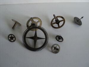8 Vintage Clock Parts Wheels