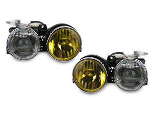 Yellow clear Glass Euro Smiley Ellipsoid Projector Headlight For 84 91 Bmw E30