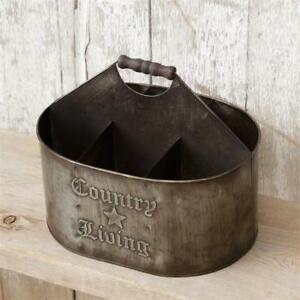 Vintage Inspired Metal Divided Tin Caddy Utensil Holder Display Bucket Holder