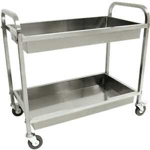 Stainless Steel Serving Cart Kitchen Rolling Serving Utility Wheels 2 Tier Shelf