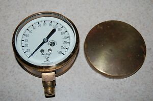Vintage Marsh Instrument Co Skokie Solid Brass 3 Steampunk Test Gauge Type 28