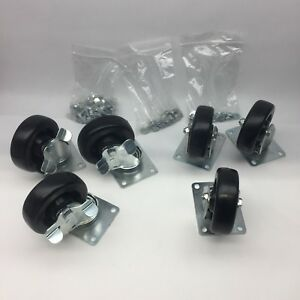 Lot Of 6 Vulcan 4 Swivel Plate Mount Caster 3 Regular 3 With Break