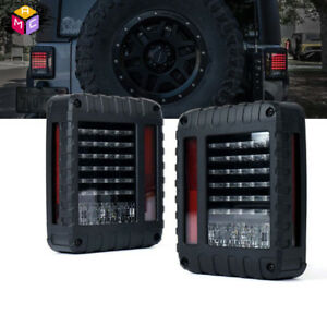 Pair Led Tail Light Rear Reverse Brake Turn Signal Lamp 07 16 Jeep Wrangler Jk