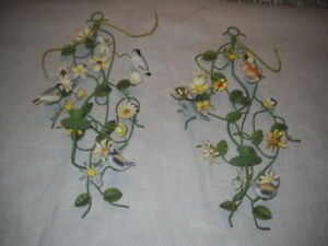 Pair Vintage Tole Metal Candle Holders Wall Sconce Birds Flowers Chippy Italian