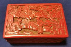 Carved Cinnabar Lacquer Covered Box W Ornate Mountain Tree People Scene