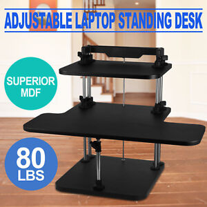 Height Width Adjustable Computer Standing Desk Sit Stand Up Desk 3 Layers