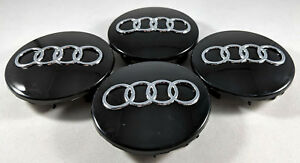 4 Pc Set Glossy Black Wheel Center Replacement Hub Caps 69mm For Audi 4b0601170a