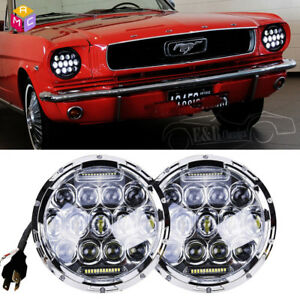 Dot 7 Inch Round Chrome Led Headlight Hi Lo Beam For Ford Mustang 1965 1978 Cree